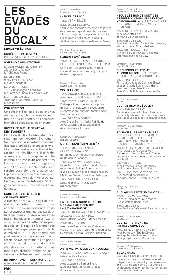 les Evadés du Bocal / 8 novembre au 2 décembre 2012 dans Action lesevadesdubocalprogramme